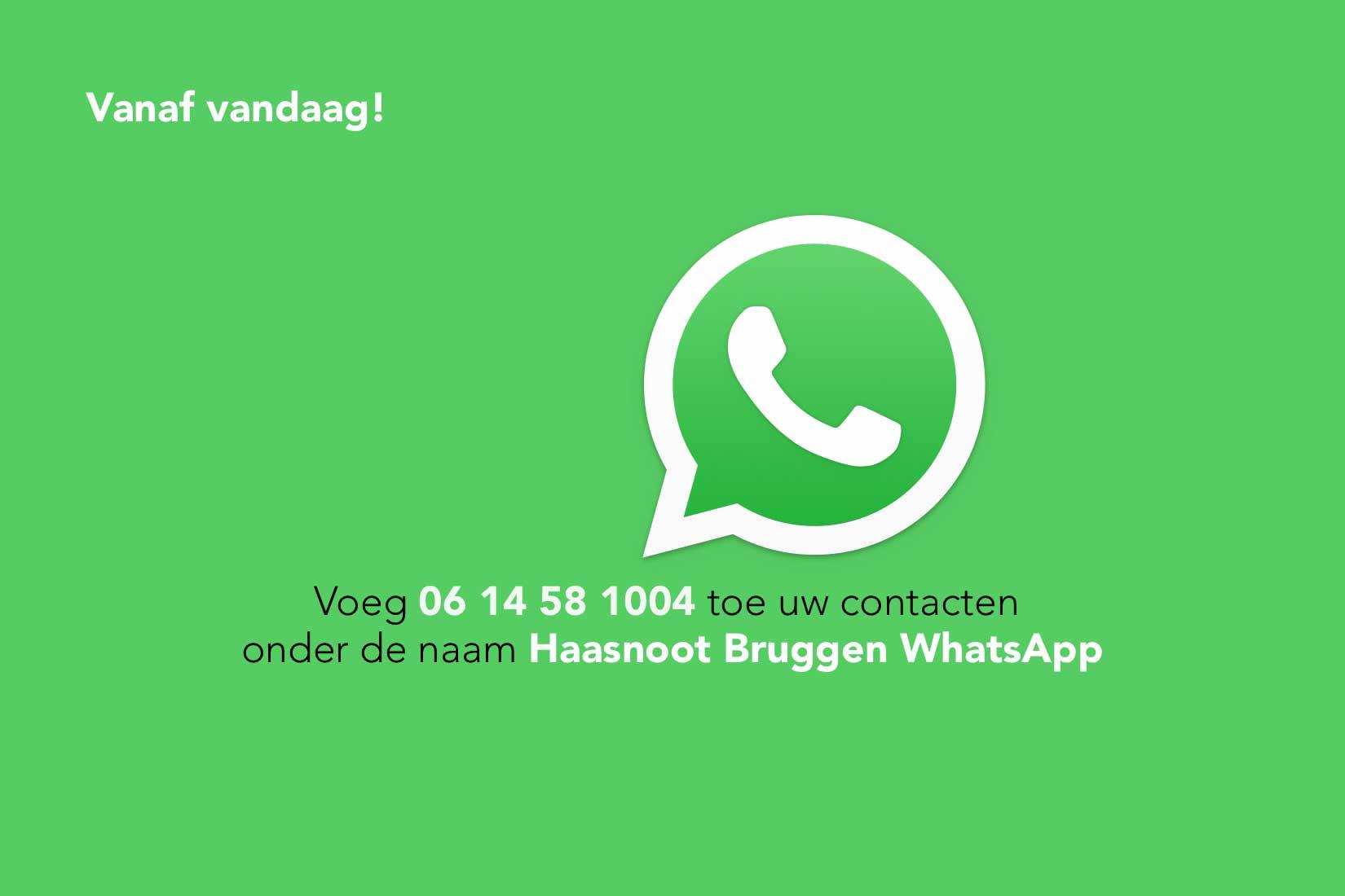 Haasnoot Bruggen gebruikt vanaf vandaag WhatsApp voor haar klanten.