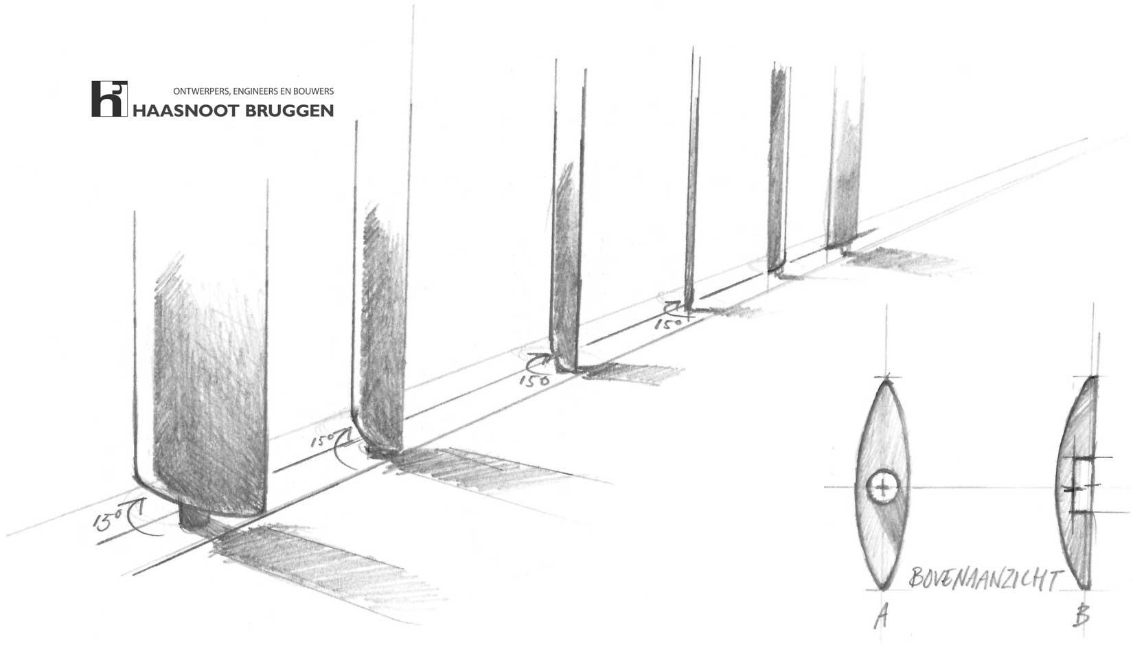 Ontwerp concept en schets bruggen, kunstwerken door Haasnoot Bruggen.
